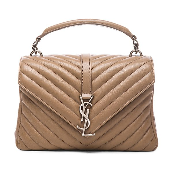 Saint Laurent Medium monogram chain bag in neutrals - Quilted calfskin leather with grosgrain lining and...