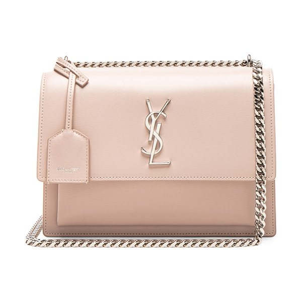 Saint Laurent Medium Monogramme Sunset Chain Bag in marble pink - Calfskin leather with suede lining and silver-tone...