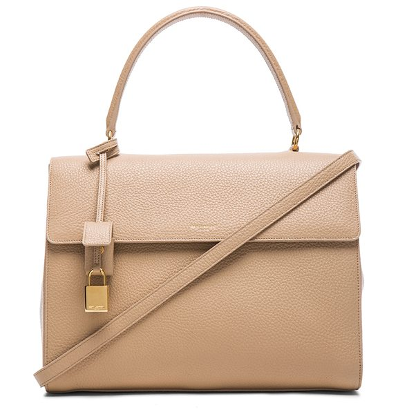 Saint Laurent Medium moujik bag in neutrals - Grained leather with grosgrain lining and gold-tone...