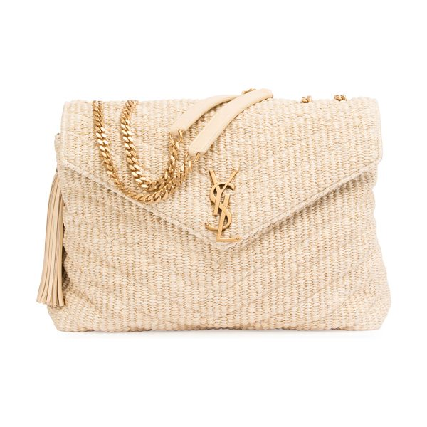Saint Laurent Medium Soft Raffia Chain Shoulder Bag in light beige - Saint Lauren matelasse raffia shoulder bag. Flat...