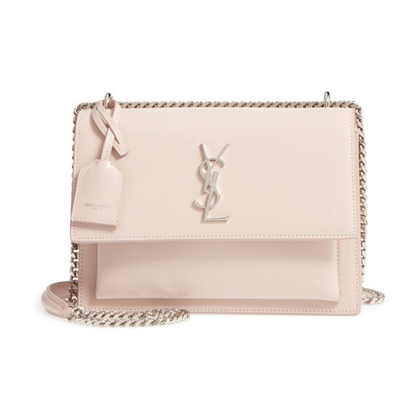 Saint Laurent medium sunset calfskin shoulder bag in marble pink - As central to your life as a handbag is, make it a...
