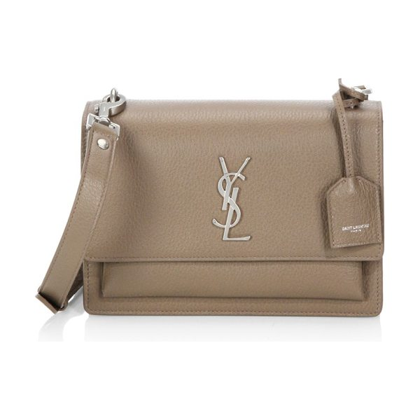 Saint Laurent medium sunset monogram leather satchel in taupe - Expertly crafted bag rendered in a textured finish....