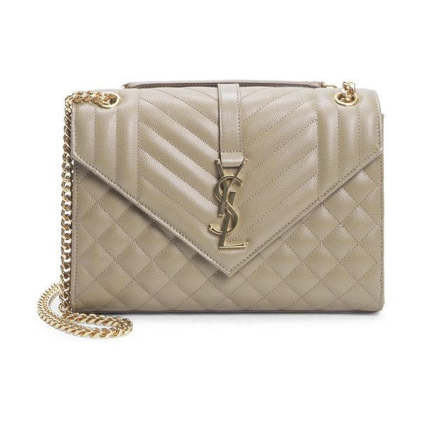 Saint Laurent medium envelope monogram matelassé leather shoulder bag in coffee beige