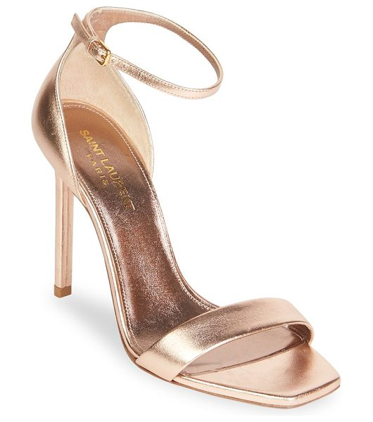 SAINT LAURENT metallic leather ankle-strap pumps - Sleek and elegant leather ankle-strap pumps. Stiletto...