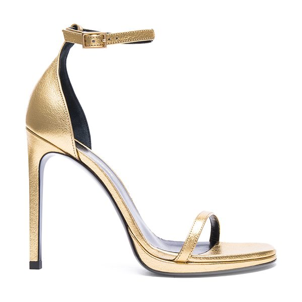 SAINT LAURENT Metallic Leather Jane Sandals in metallics - Leather upper and sole.  Made in Italy.  Approx 115mm/...