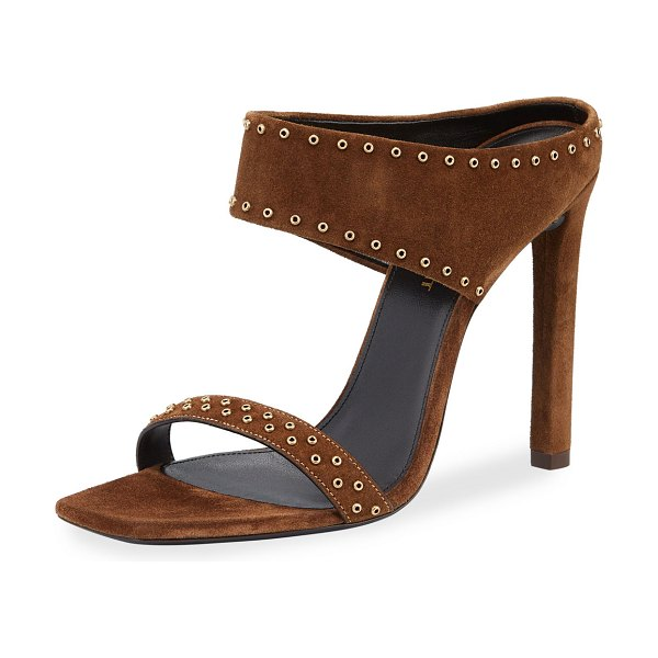 Saint Laurent Mica Studded Suede High-Heel Sandals in tan