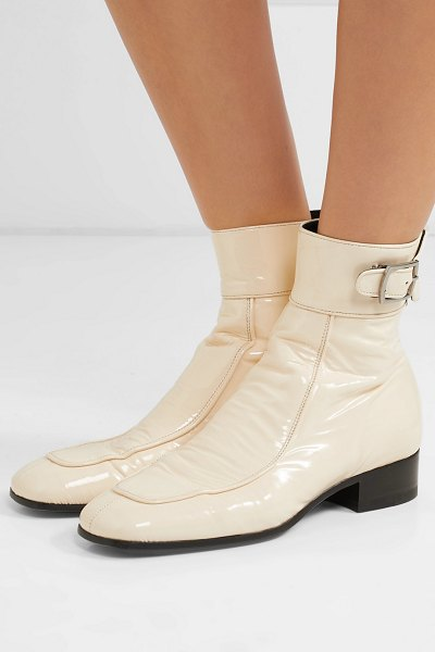 Saint Laurent miles patent-leather ankle boots in cream