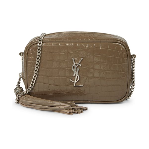 Saint Laurent mini lou croc-embossed leather camera bag in warm taupe