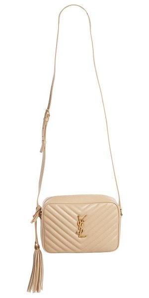 Saint Laurent mini lou quilted leather crossbody bag in beige