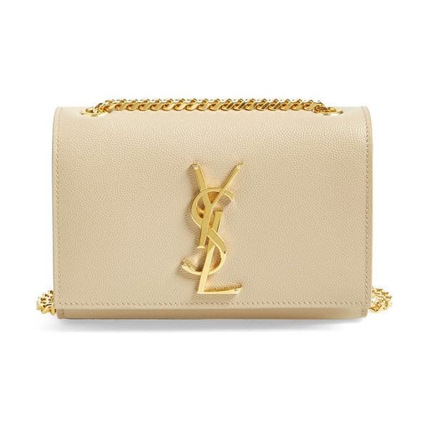 SAINT LAURENT Mini monogram crossbody bag in dark beige - A monogrammed insignia makes an iconic mark on a...