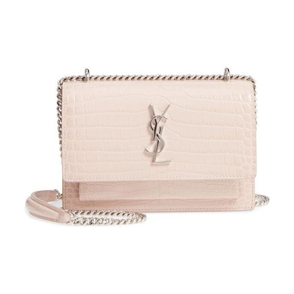 Saint Laurent mini monogram sunset croc embossed leather shoulder bag in marble pink