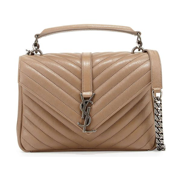 "Saint Laurent Monogram boyfriend medium satchel bag in taupe - Saint Laurent ""Monogram Boyfriend"" bag in chevron..."