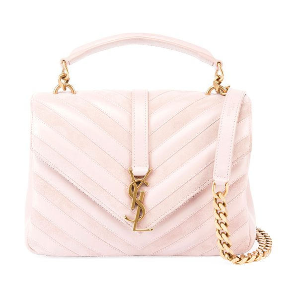 "SAINT LAURENT Monogram College Medium Shoulder Bag - Saint Laurent ""Monogram College"" bag in chevron pattern..."