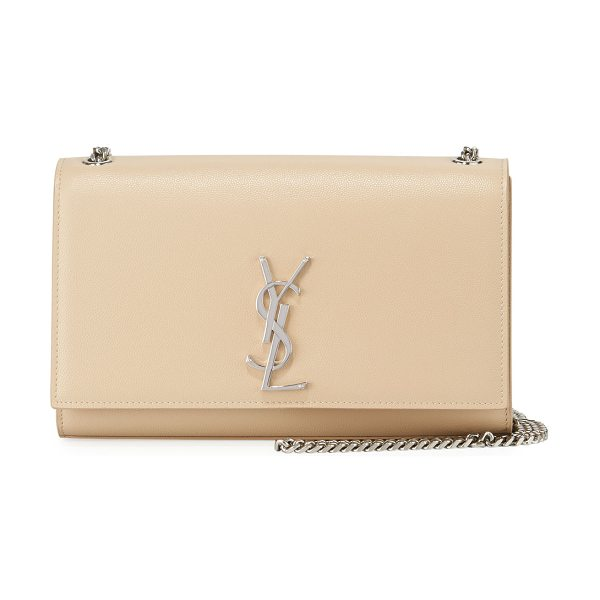 Saint Laurent Kate Monogram YSL Medium Wallet on Chain in beige