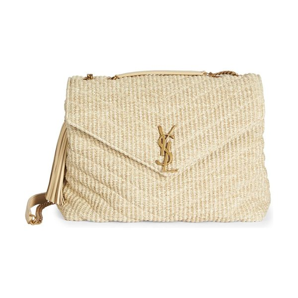 Saint Laurent large lou lou braided chain shoulder bag in natural - Braided matelasse envelope style with leather tassel....