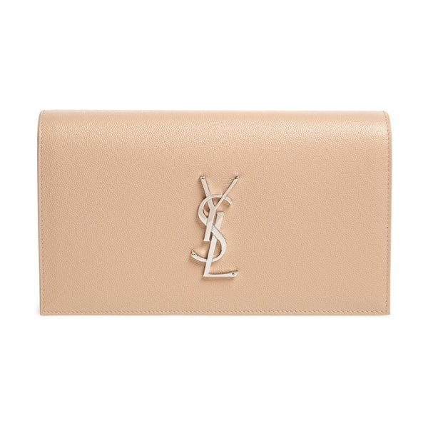 SAINT LAURENT 'monogram' leather clutch - A gleaming silvertone insignia polishes the front of a...