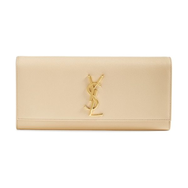 Saint Laurent 'monogram' leather clutch in nude/gold hdwr - A gilt insignia polishes the front of this sleek,...