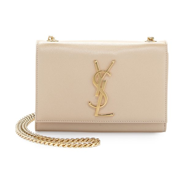 Saint Laurent Monogram Leather Crossbody Bag in cream - Saint Laurent pebbled calfskin with golden hardware....
