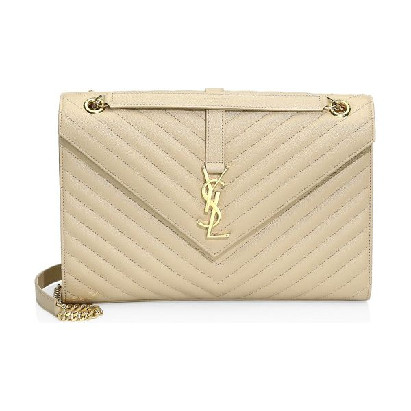 Saint Laurent monogram leather shoulder bag in nude - Luscious quilted leather elevates iconic monogram bag....