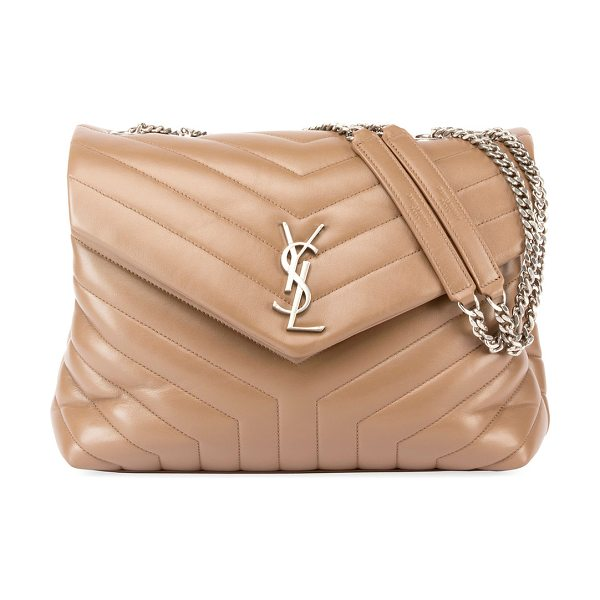Saint Laurent Loulou Monogram Medium Chain Shoulder Bag in light brown - Saint Laurent shoulder bag in chevron-quilted leather....