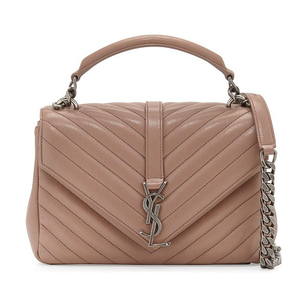 Saint Laurent Monogram Medium College Shoulder Bag in blush - Saint Laurent quilted lambskin shoulder bag with...
