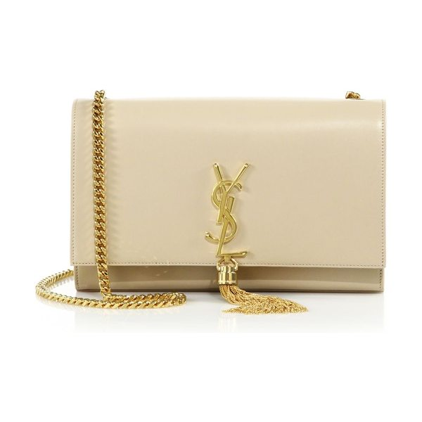 Saint Laurent medium kate monogram tassel leather shoulder bag in nude powder