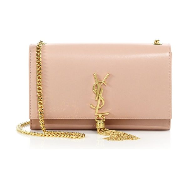 Saint Laurent Monogram medium leather tassel chain shoulder bag in palepink - Timeless tasseled design showcasing the signature YSL...