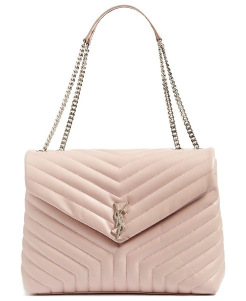 Saint Laurent monogram quilted leather slouchy shoulder bag in rose antic - Exquisite matelasse stitching and an iconic gilt...