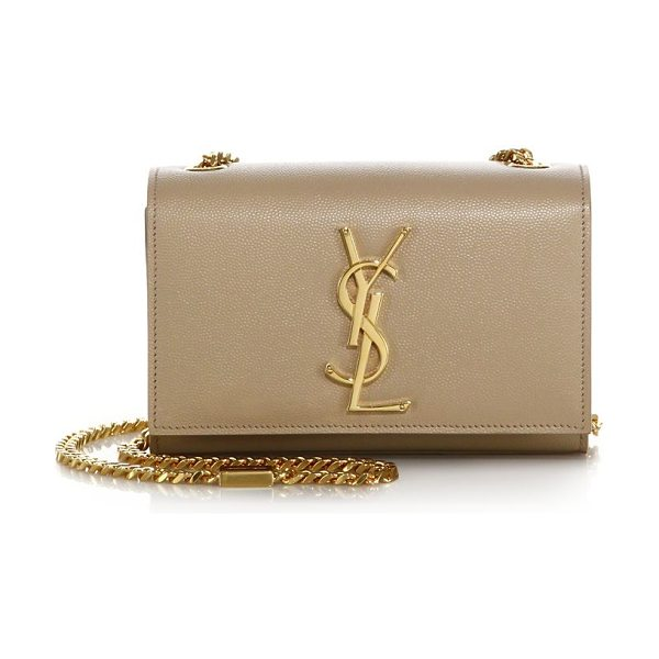Saint Laurent small kate monogram leather chain shoulder bag in darkbeige - A petite monogram shoulder bag with a bold chain...