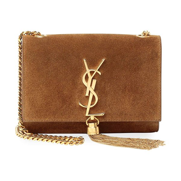 Saint Laurent Monogram small suede tassel crossbody bag in camel