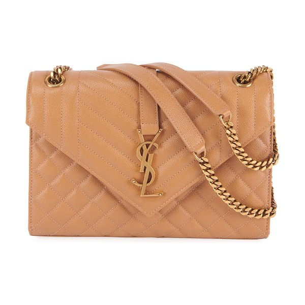 Saint Laurent Monogram YSL Large Tri-Quilted Envelope Chain Shoulder Bag in medium beige