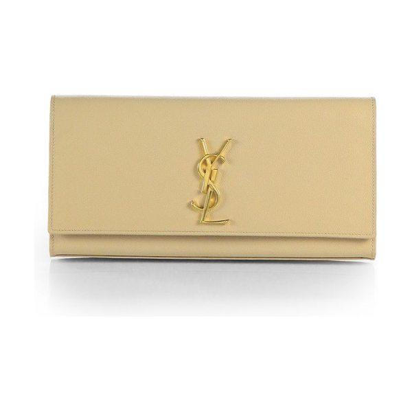 Saint Laurent kate monogram leather clutch in nude - Luxurious textured leather accented with goldtone logo...