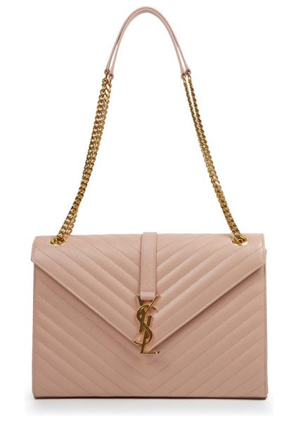 Saint Laurent monogram large grained chain bag in lightrose - Gracefully patterned chevron stitching creates the...