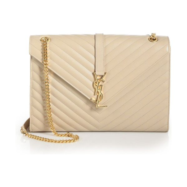 Saint Laurent large monogram matelasse leather chain shoulder bag in nude - Gracefully patterned chevron stitching creates the...