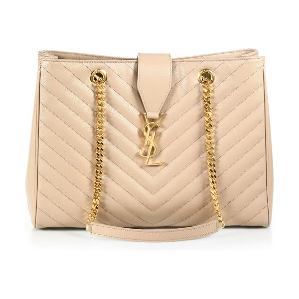 SAINT LAURENT monogram mattelasse leather shopping tote - At once trim and roomy, this stunning tote has elegant...