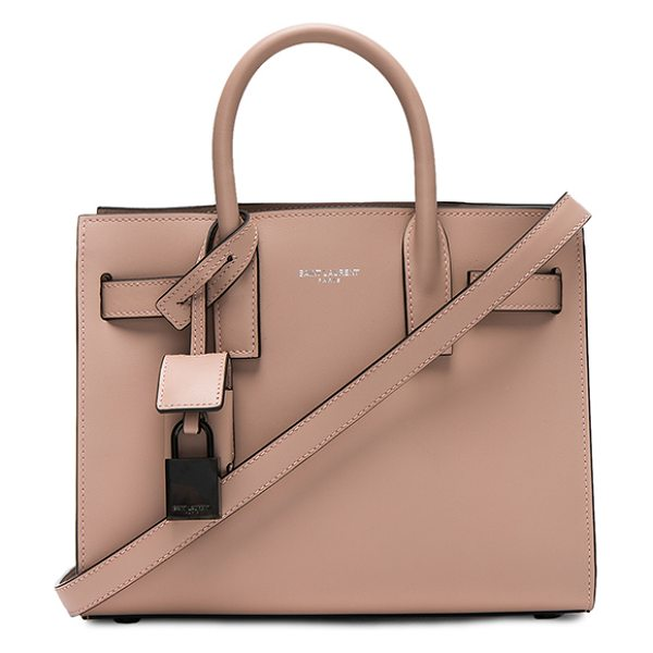 SAINT LAURENT Nano Double Face Leather in nude rose - Smooth calfskin leather with bonded smooth leather...
