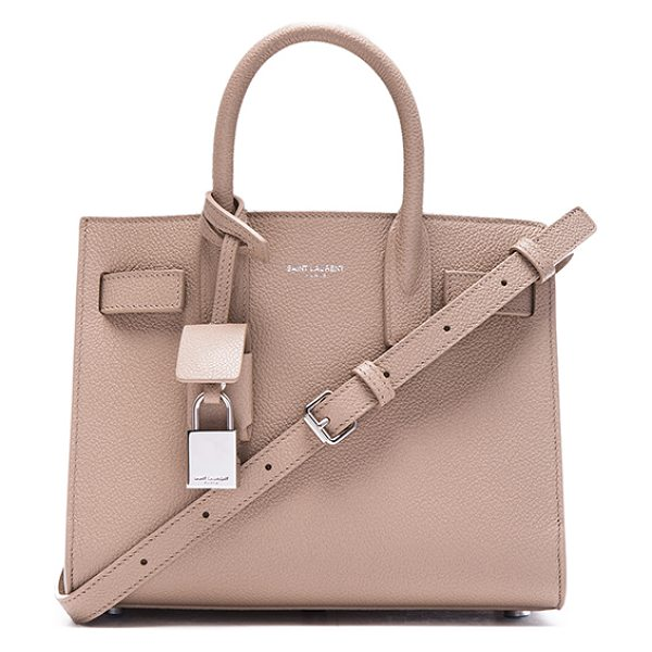 Saint Laurent Nano sac de jour in neutrals - Pebbled calfskin leather with grosgrain lining and...