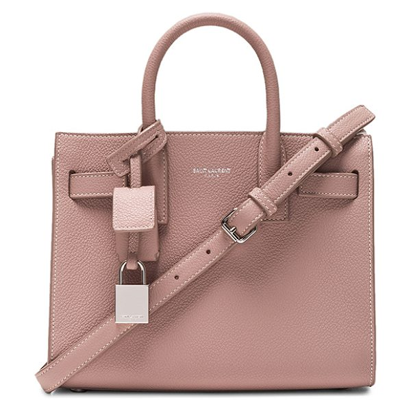 Saint Laurent Nano Sac de Jour in pink - Pebbled calfskin leather with bonded smooth leather...