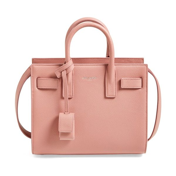 Saint Laurent Nano sac de jour calfskin leather tote in vieux rose - A compact, structured bag looks so polished right now,...