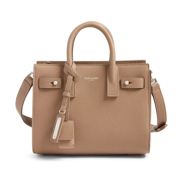 Saint Laurent nano sac du jour leather tote in taupe - A compact Saint Laurent bag in textured calfskin leather...