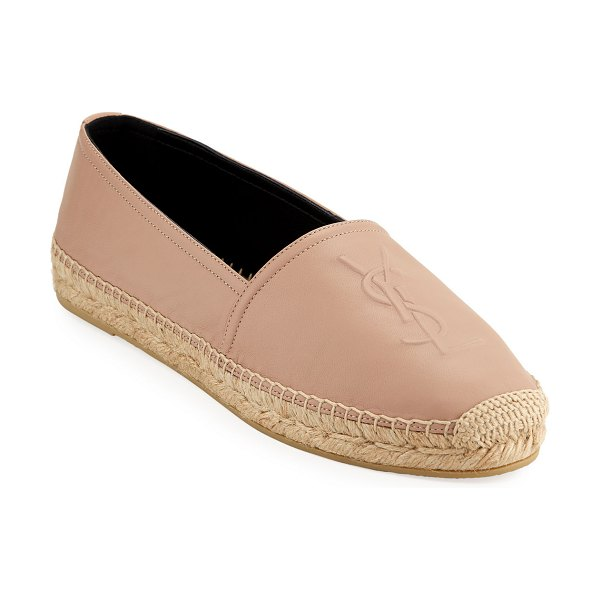 Saint Laurent Napa Leather Slip-On Espadrille with Logo in nude