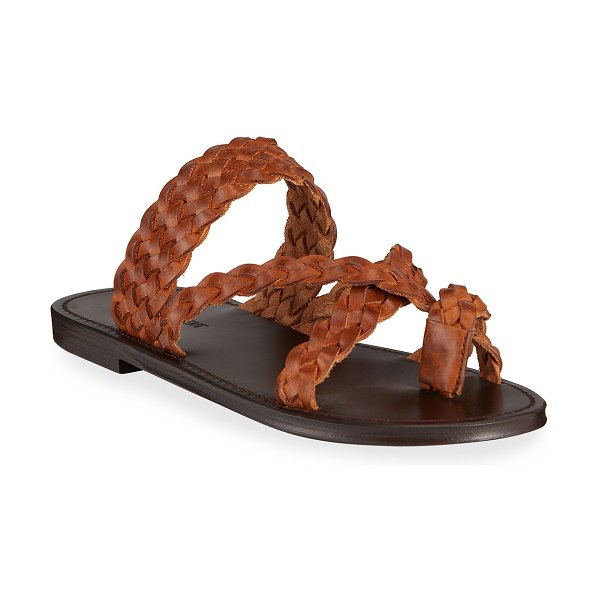 Saint Laurent Neil Braided Leather Flat Sandals in brown