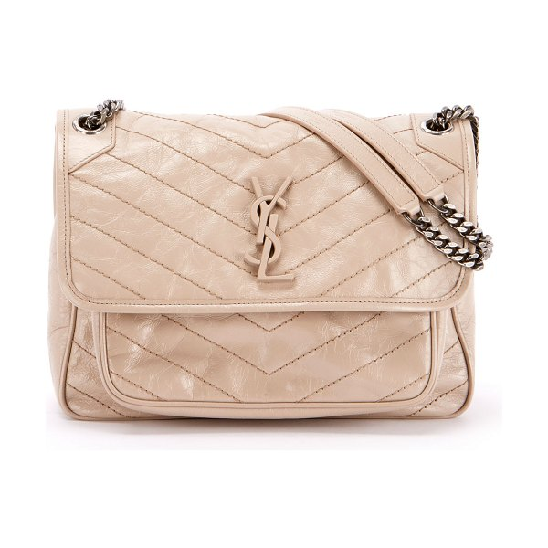 Saint Laurent Niki Medium Monogram YSL Shiny Waxy Quilted Shoulder Bag in neutral - Saint Laurent shoulder bag in chevron-quilted leather...