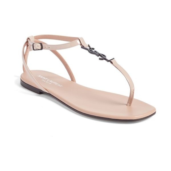 Saint Laurent nu pied t-strap sandal in nude rose - A metallic YSL logo emboldens the slender T-strap of a...