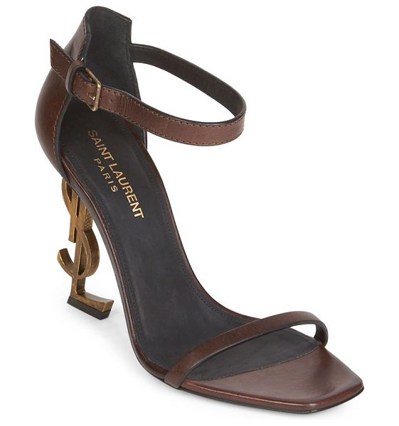 Saint Laurent opyum ankle-strap leather sandals in brown - Logo heel elevates sultry leather sandals. YSL heel,...