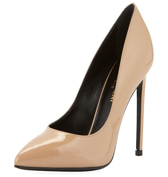 "Saint Laurent Paris Patent Leather Pump in nude - Saint Laurent patent leather pump. 4.3"" covered heel...."