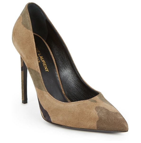 Saint Laurent Paris skinny camouflage suede pumps in brown - Classic pump silhouette in muted camouflage...