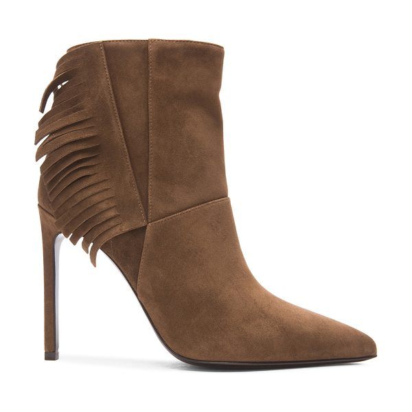 Saint Laurent Paris suede fringe booties in brown - Suede upper with leather sole.  Made in Italy.  Approx...