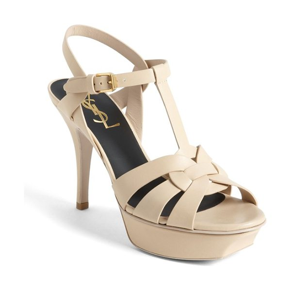 SAINT LAURENT 'tribute' sandal in nude - Smooth, intricately interlocked leather straps style a...