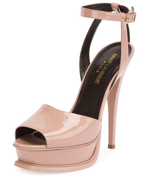 "SAINT LAURENT Patent Ankle-Strap 135mm Sandal in nude - Saint Laurent patent leather sandal. 5.3"" covered heel;..."